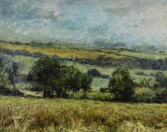 Yorkshire Landscape Giclée Signed Art Print of Original Oil Painting -A quiet day at Ampleforth, North Yorkshire English Countryside