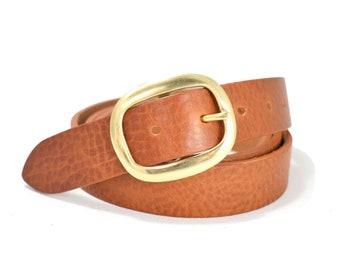 Dark Brown Leather Belt Oval Belt Buckle 1 14 Inch Woman | Etsy