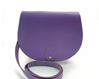 30bbd4baa9f4 Purple Leather Saddle Bag - Handmade In Uk - Purple Saddle Bag - Purple  Leather Bag
