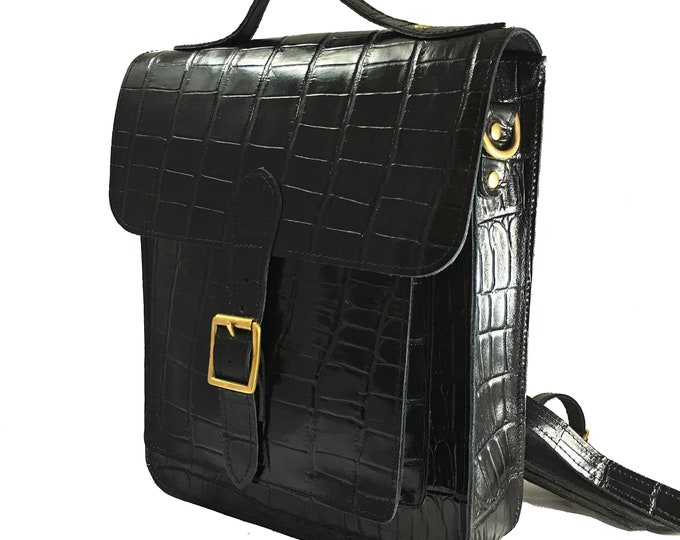 Black Leather Backpack with Croc Embossed Print