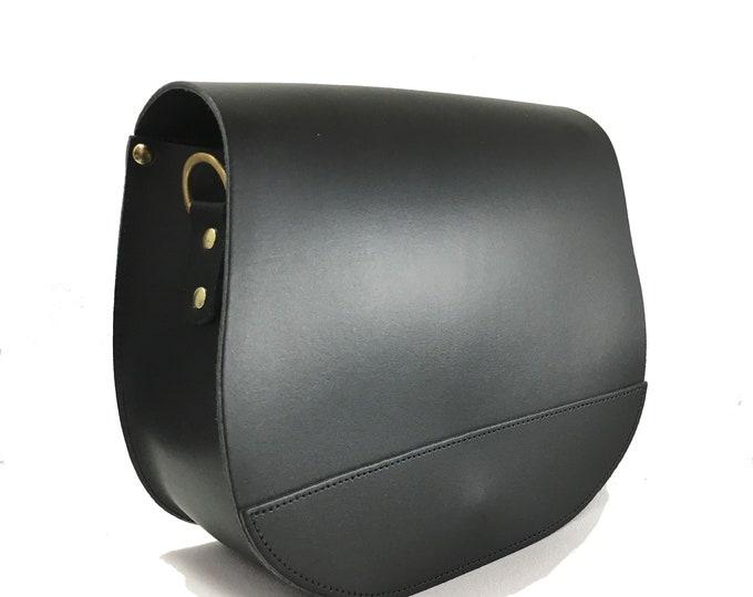 Large Black Saddle Bag w/ Magnetic Lock - Saddle Bag - Handmade - Purse  -  Black Leather Bag -  Leather Saddle Bag - Black Crossbody Bag
