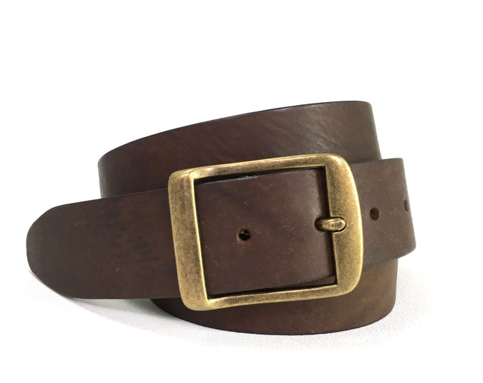 """Brown Leather Belt With Antique Brass Buckle - 1"""" 1/2"""