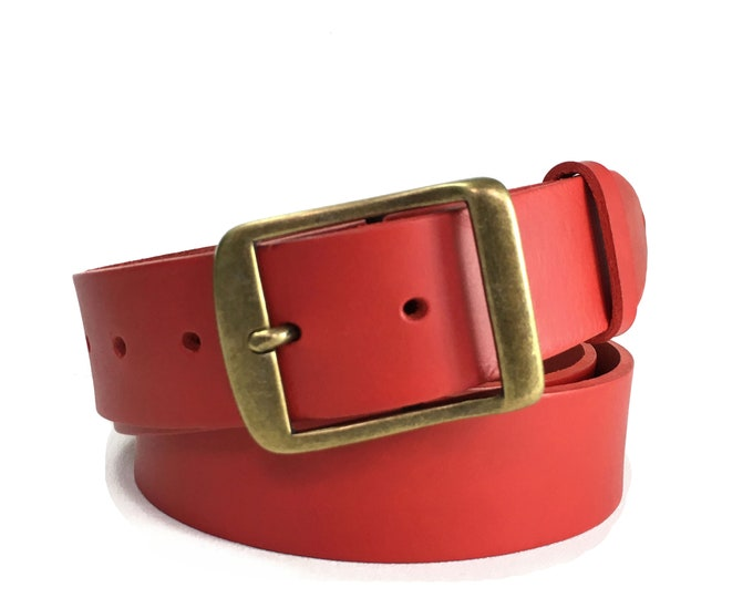 "Red Leather Belt With Antique Brass Buckle - 1"" 1/2 - Winter"