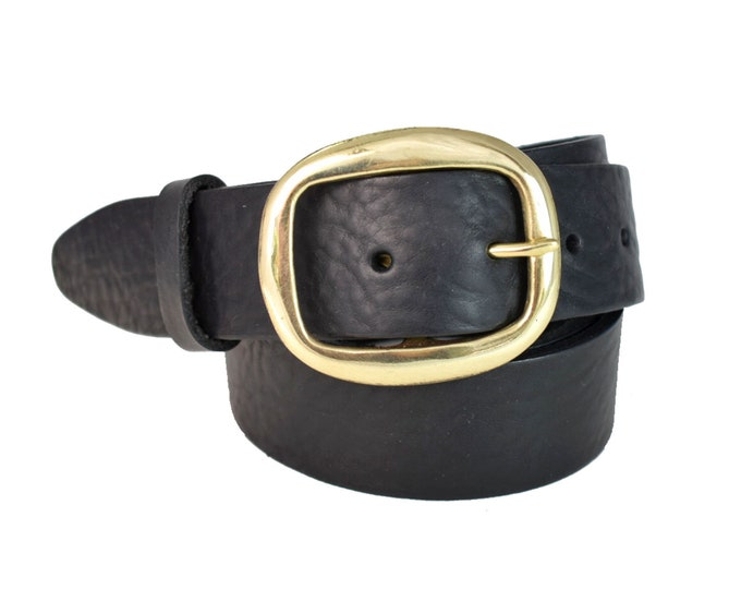 46743513a6312 Oval Round Black Leather Belt w/ Brass Buckle - 1 1/2 Inch,