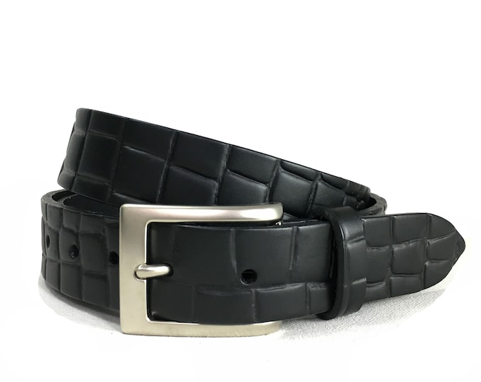 "Mens Dress Belt in Black with Croc Embossing -  1""1/4"