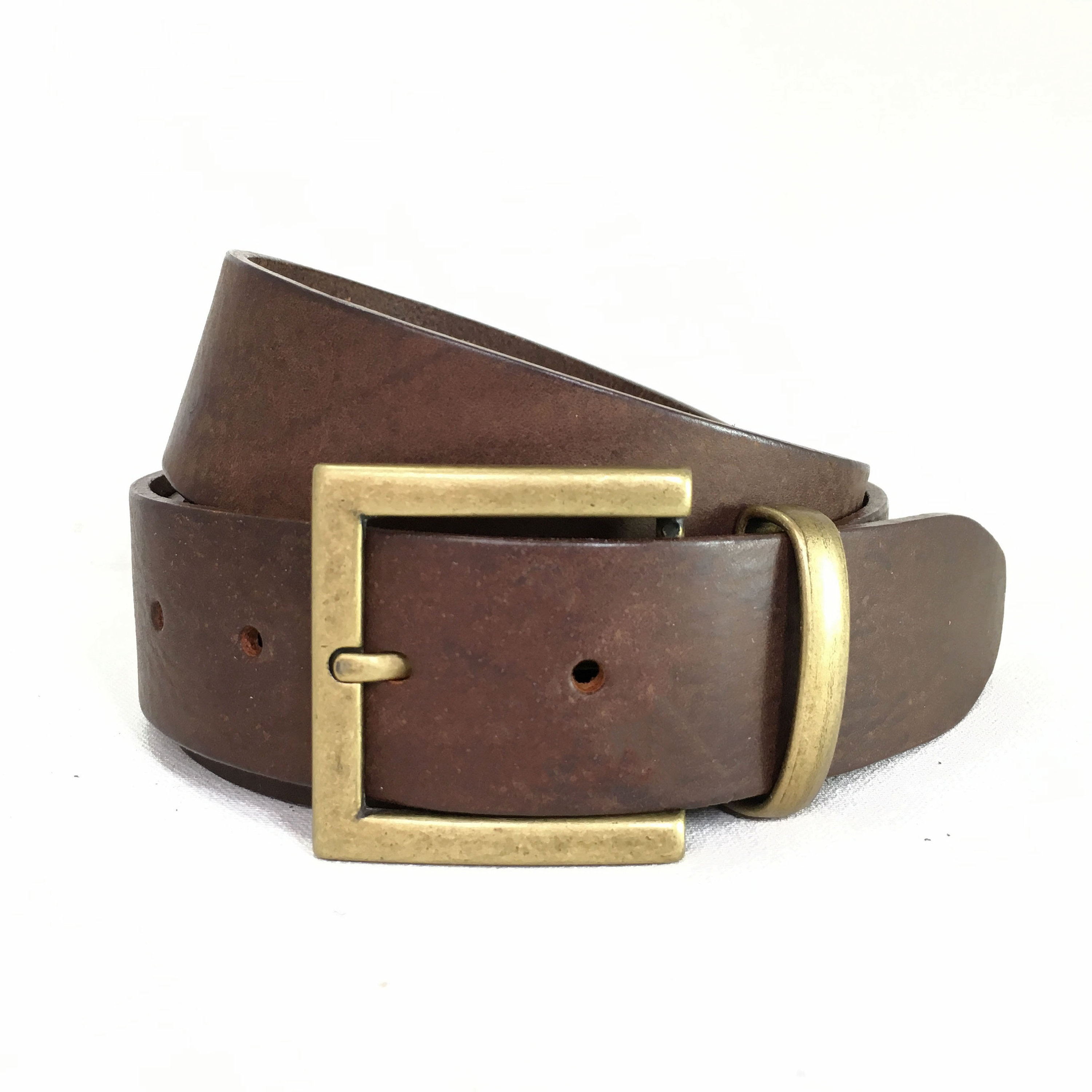 761ace7faaf3e Square Antique Brass Buckle with Vintage Brown Leather Belt - 1 1/2 Inch  Belt