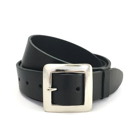 Noir Uni Ceinture en cuir bracelet Snap on aucune Boucle Robe Décontractée Homme Femme