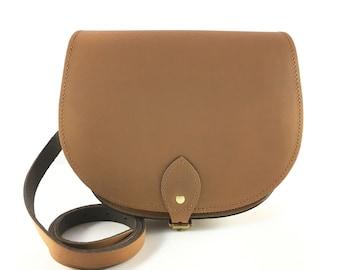 Vintage Brown Saddle Bag - Handmade - Brown Bag -  Brown Leather Bag -  Leather Saddle Bag - Brown Purse - Retro Fashion