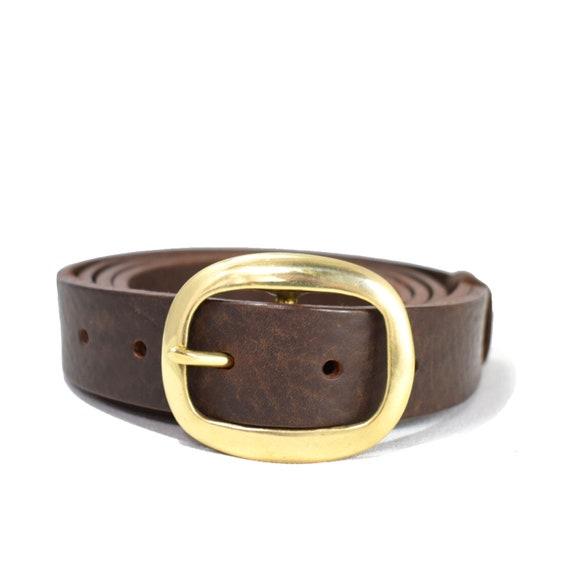 Dark Brown Leather Belt Oval Belt Buckle 1 14 Inch Woman Belt Trousers Belt Tan Belt Handmade Gift for Her Dress Belt