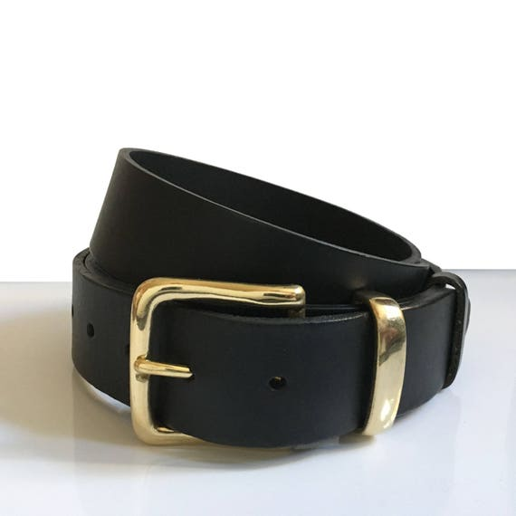 Mens Brass Leather Belt 1.5 Inch Womens Black Leather Belt Gold Belt Handmade UK 1 12 Inch Belt Black Belt Brass Buckle