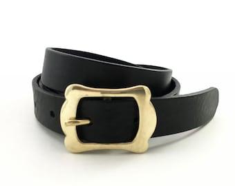 """Women Leather Belt in Black - 1"""" - Feminin Gold Buckle - Thin Belt - Black Belt for Women - Waist Belt - Womens Gold Belt - Women Dress Belt"""