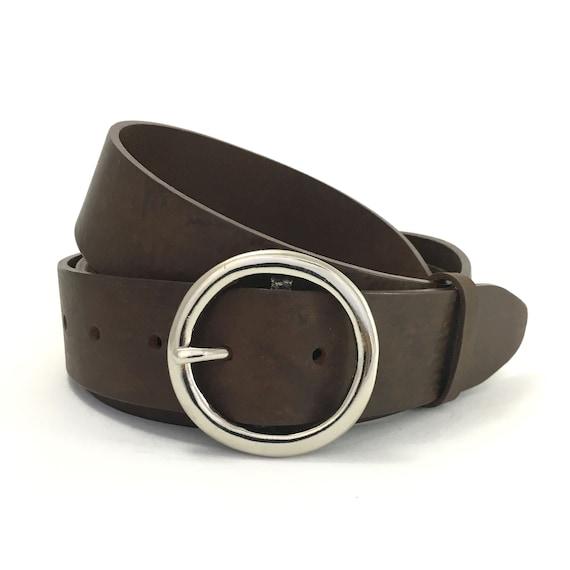 Cercle dargent ceinture en cuir avec lanière marron 1   Etsy d8015fe3561