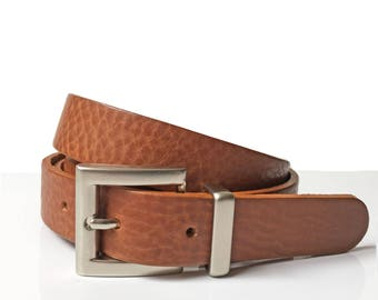 """Narrow Leather Belt in Tan  1"""" Inch  Handmade UK  Narrow Ladies Belt  Woman Belt  Tan Belt for Trousers  Square Silver Buckle Gift for Her"""
