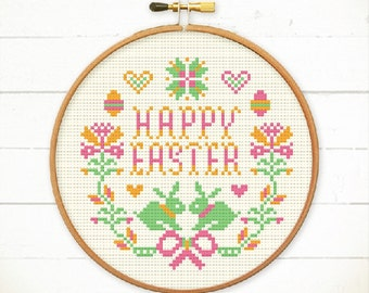 Easter cross stitch, Happy Easter wreaths / Spring Wreaths, easy cross stitch sampler by Red bear Design