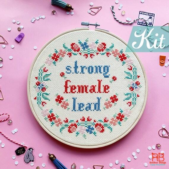 Beautiful Girl Embroidery Kit  Feminist Art  Embroidery Starter Kits  Female Gift  Stitching Gift D