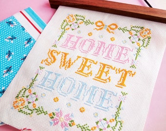 Cross stitch patterns Home sweet home cross stitch funny cross stitch modern cross stitch cool cross stitch sampler-Floral Home Sweet Home
