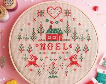 Cross stitch pattern Xmas cross stitch sampler Modern cross stitch Christmas cross stitch Christmas decoration diy Christmas ideas for woman