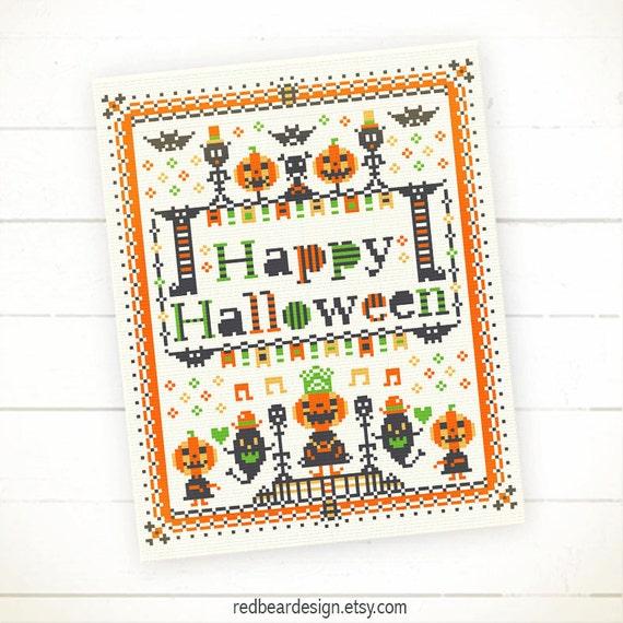 Pumpkins Cross Stitch Patterns Halloween Needlepoint Pattern Etsy