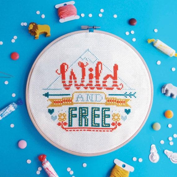 Cross Stitch Pattern Wild And Free Modern Cross Stitch Etsy