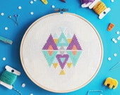 Modern Cross stitch pattern, Geometric cross stitch, Funny Cross stitch, Counted cross stitch sampler, Embroidery - Play with Triangles