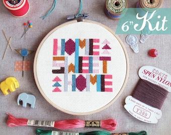 Best housewarming gift ideas cross Stitch KITs Home cross stitch sampler geometric cross stitch Funny DIY KITs - Geometric Home Sweet Home