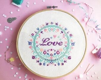 Cross stitch patterns funny cross stitch sampler modern cross stitch world counted cross stitch love - Floral with Love , smile & Joy SET