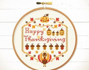cross stitch pattern,Thanksgiving ideas,Modern cross stitch, Funny cross stitch sampler, cool cross stitch,Happy Thanksgiving / Fall, Y'all