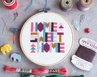 "Cross stitch pattern 6"" Geometric cross stitch sampler,Home Sweet Home cross stitch world,funny cross stitch chart,cool cross stitch free"