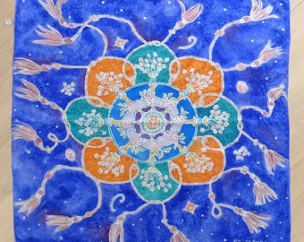 Hand painted silk mandala shawl