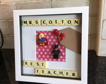 Female Teacher Mini Superhero Figure Thank You Frame Awesome Best Great Gift For End Of Term Christmas Or Birthday Supergirl