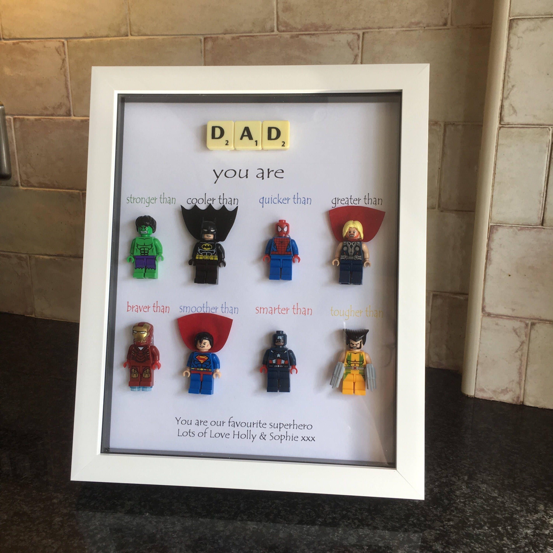 Personalised Lego Superhero MARVEL Frame Superhero fathers day Birthday Gift