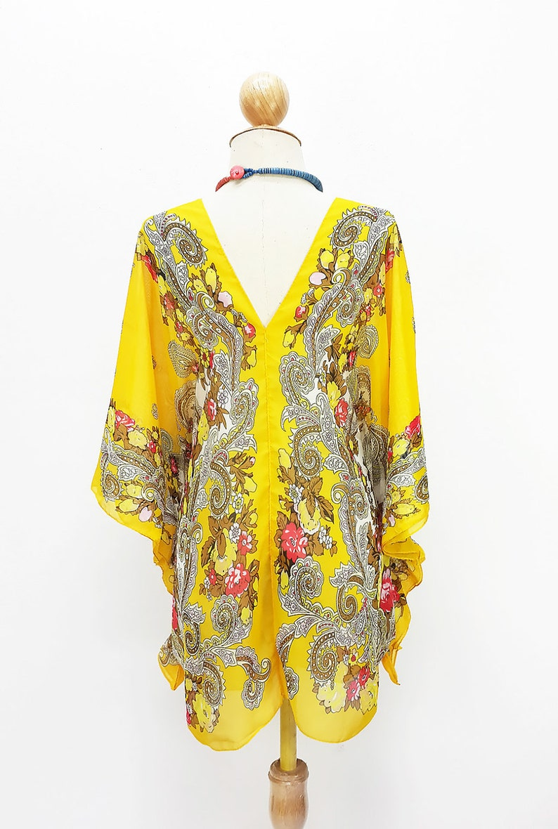 Kaftan Kimono Beach Cover up Bikini Yellow Butterfly sleeves Tunic Gift Top Maternity Swimwear Plus size see through colorful Summer Beach