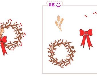 Twig Wreath Three-Step, All-In-One Stencil