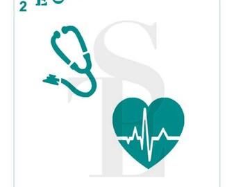 Medical Symbols #2 Stencil Stethoscope Beating Heart