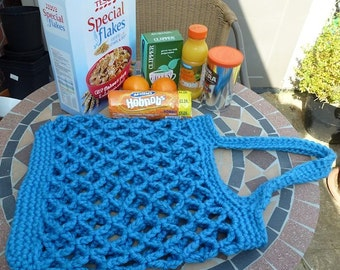 Hand made crochet shopping bag. Super bulky acrylic yarn. Can be made to order in other colours.