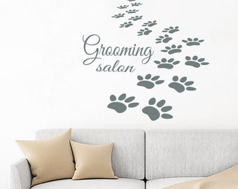 8131ab81f700 Paw Prints Wall Decals Grooming Salon Dog Puppy Pets Pet Shop Home Interior  Design Vinyl Decal Sticker Art Mural Kids Room Wall Decor KG688
