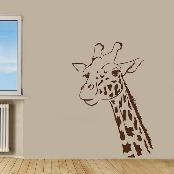 Animal Wall Decal x15 Animal Vinyl Decal Huge Giraffe Head Wall Decor