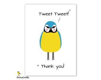 Bird Printable Card - Bird Thank You Card - Digital Bird Card - Instant Digital Download - Blue Tit Illustration - PDF JPEG - Cute Bird Card