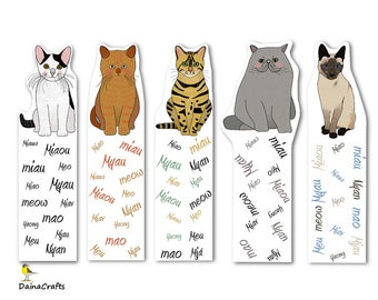 Cute Printable Bookmarks - Cat Bookmarks Printable - Cats Bookmarks - PDF Download - Instant Download - Digital Download