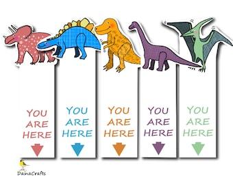 Dinosaur Printable Bookmarks - Kids Bookmarks - Dinosaur Bookmark - Bookmark Download - PDF - Instant Download - Digital Download - Dino