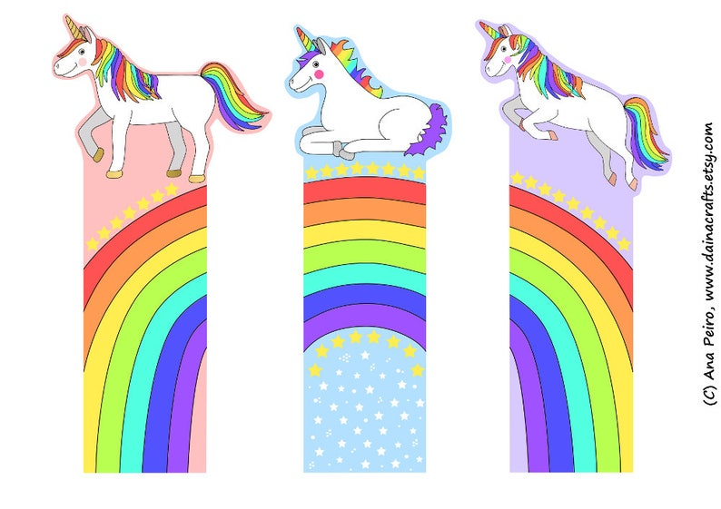 picture about Cute Bookmarks Printable referred to as Printable Unicorn Rainbow Bookmarks - Lovely Printable Bookmarks in the direction of Shade - Immediate Electronic PDF Down load - Printable Coloring Webpages for Children