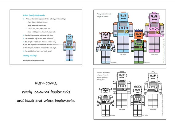 graphic relating to Printable Bookmarks Pdf identified as Printable Bookmarks - Robotic Loved ones Bookmarks - PDF Down load - Prompt Down load - Electronic -Coloring Bookmarks - Youngsters Bookmarks - Get together Favors