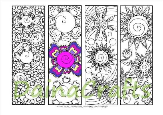 graphic about Printable Bookmarks Pdf named Printable Bookmarks in direction of Colour- Immediate Obtain Flower Bookmarks - Coloring for Grown ups - PDF Down load - Colouring Bookmarks - Coloring Webpage