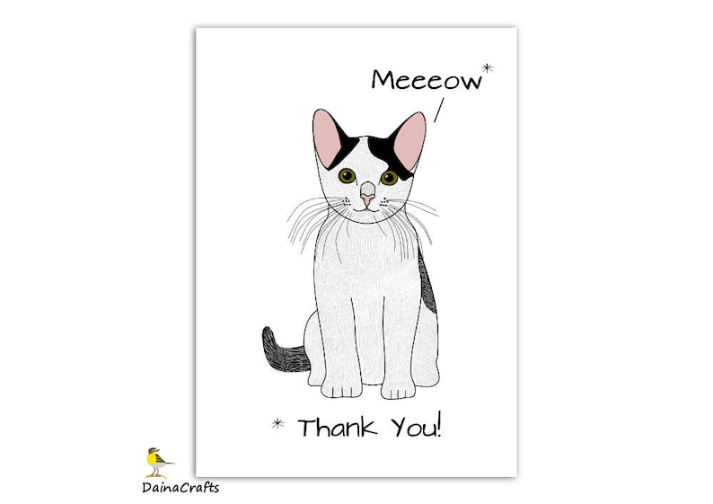 image about Printable Cat identify Cat Printable Thank Oneself Card - Thank By yourself Cat - Printable Cat Card - Electronic Card - Quick Electronic Obtain - Black and White Cat - PDF JPEG