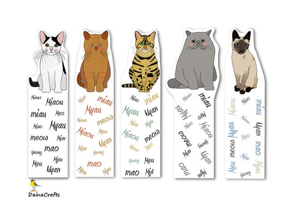 Cute Printable Bookmarks Cat Bookmarks Printable Cats Etsy