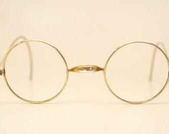 af0f69c2da87 Child Size Antique Gold Tone Windsor Eyeglasses 36mm Vintage Lennon Frames  9794 lens size-36mm bridge size-22mm color-Gold Round Lennon .