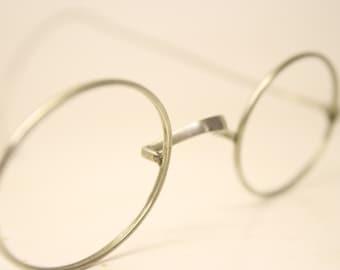 832af303b3a Antique Eyeglasses Silver Oval Wire Rim Cable Temple Vintage Eyeglass Frames