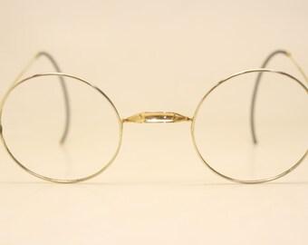 4475bf922460 Antique Gold   Silver Tone Windsor Eyeglasses 40mm Vintage Frames 9784 lens  size-40mm bridge size-24mm color-Gold Round Lennon Vintage G..