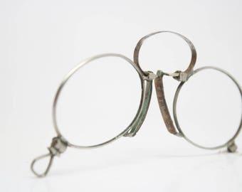 94a3edd1169 Antique Silver Hoop Spring Pince Nez Eyeglasses