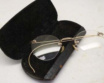 40ef1edf80b Vintage Eyeglasses 1 10 12k Gold Filled Retro Rimless Ful-Vue + Case  Antique Spectacles